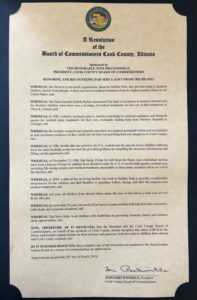 Recognition by Board of Commissioners of Cook County (2)